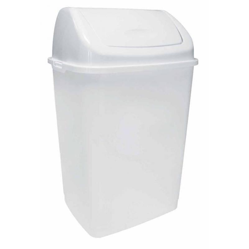 Poubelle blanche couvercle basculant 50L