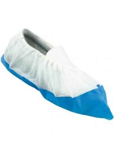 Surchaussure blanche avec semelle bleue renforcée