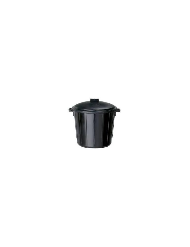 Poubelle plastique Immeuble avec couvercle noire -75 L